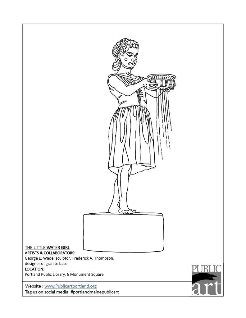 Portland Public Art Commitee coloring sheet - The Little Water Girl