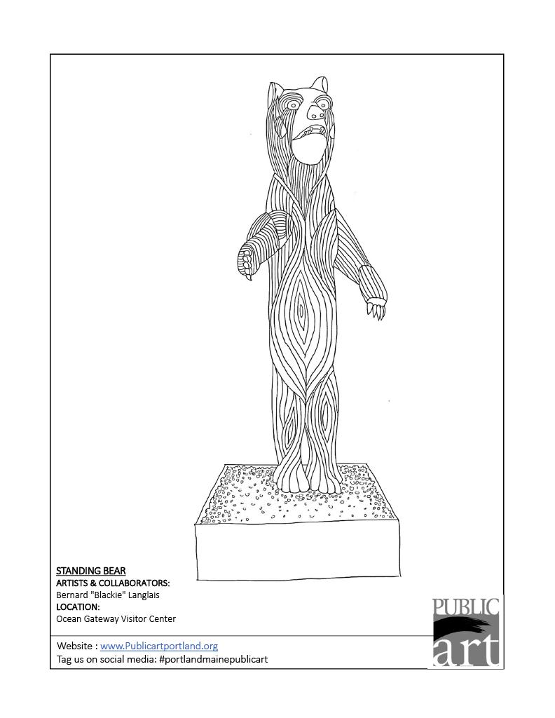 Portland Public Art Commitee coloring sheet - Standing Bear