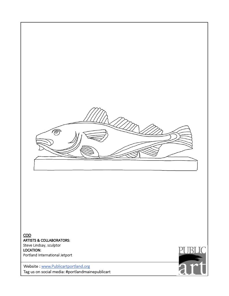 Portland Public Art Committee coloring sheet - Cod