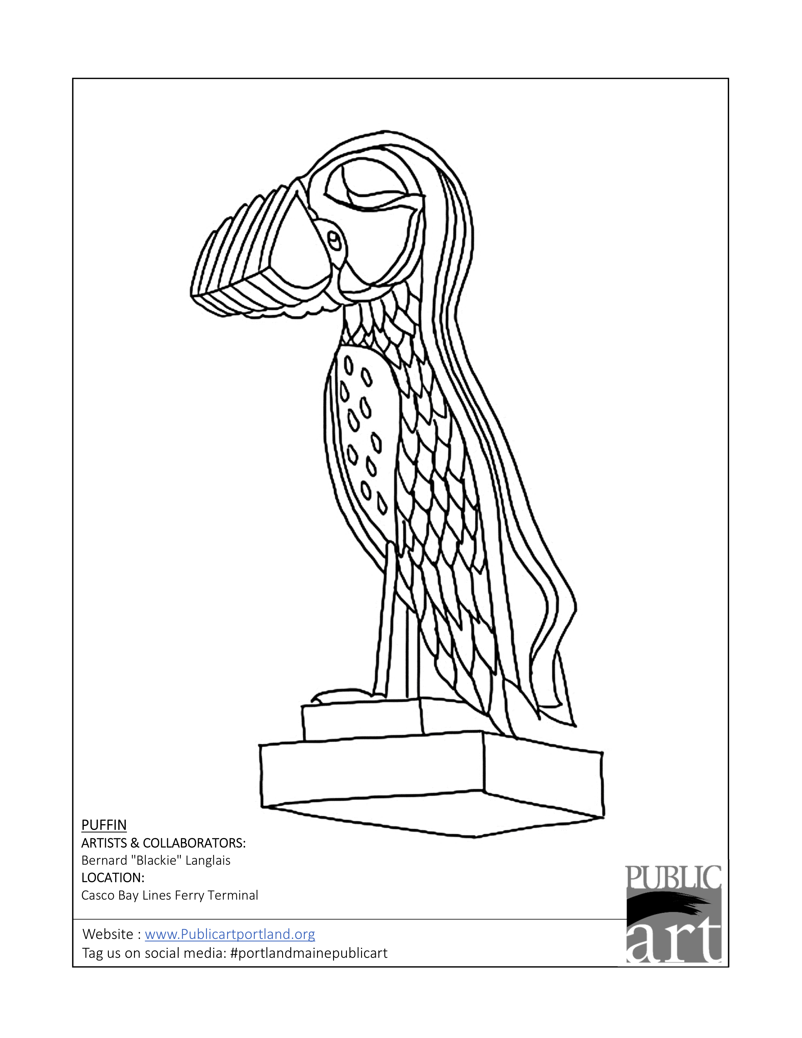 Portland Public Art Committee coloring sheet - Puffin